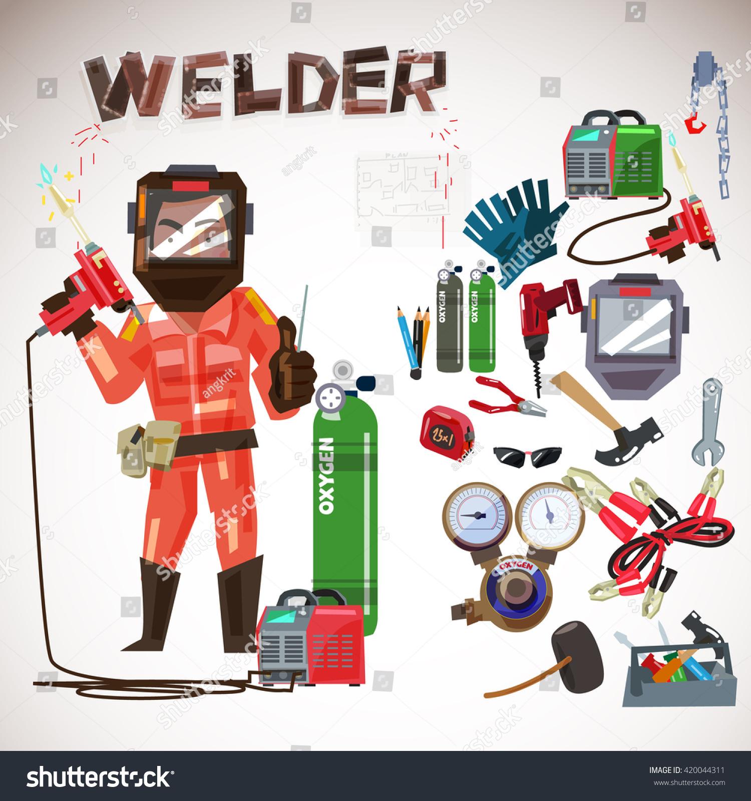 Character Design Tools : Worker welder protective mask gas welding stock vector