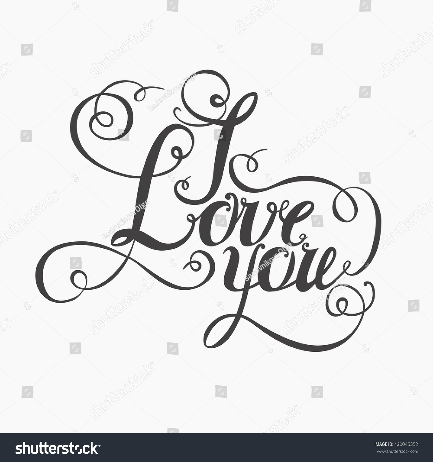 I Love You Drawings: Lettering I Love You Hand Drawing Stock Illustration