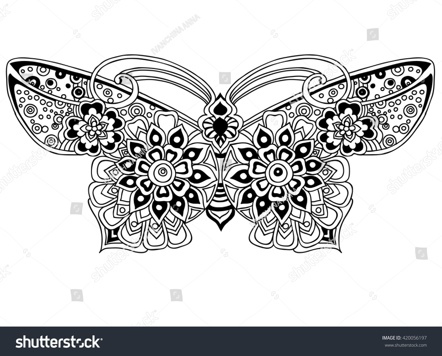 Coloring page beautiful butterfly stock vector 420056197 for Beautiful butterfly coloring pages