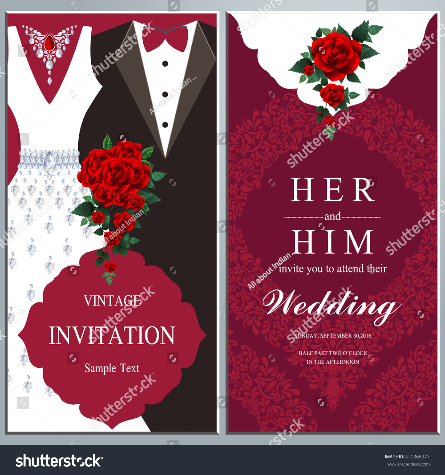 Wedding Invitation Card Bride Groom Dress Stock Vector (Royalty Free ...