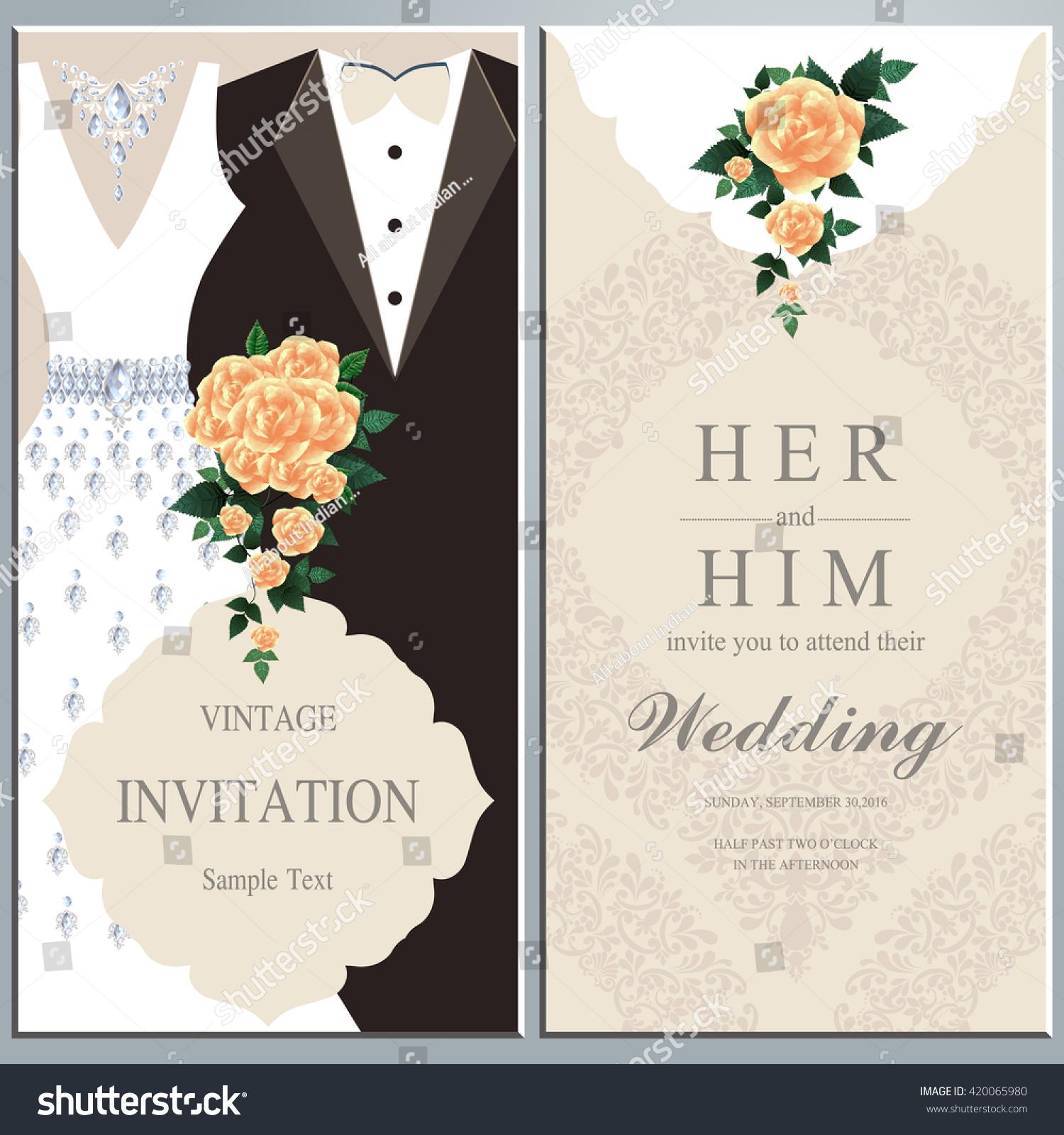 Wedding Invitation Card Bride Groom Dress Stock Vector 420065980 ...