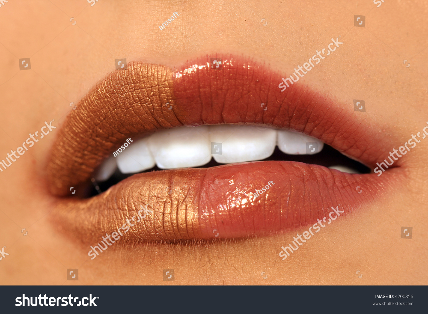 Royalty Free Macro Image Of Bright Lips Red And 4200856 Stock Lipstik Joy Gold