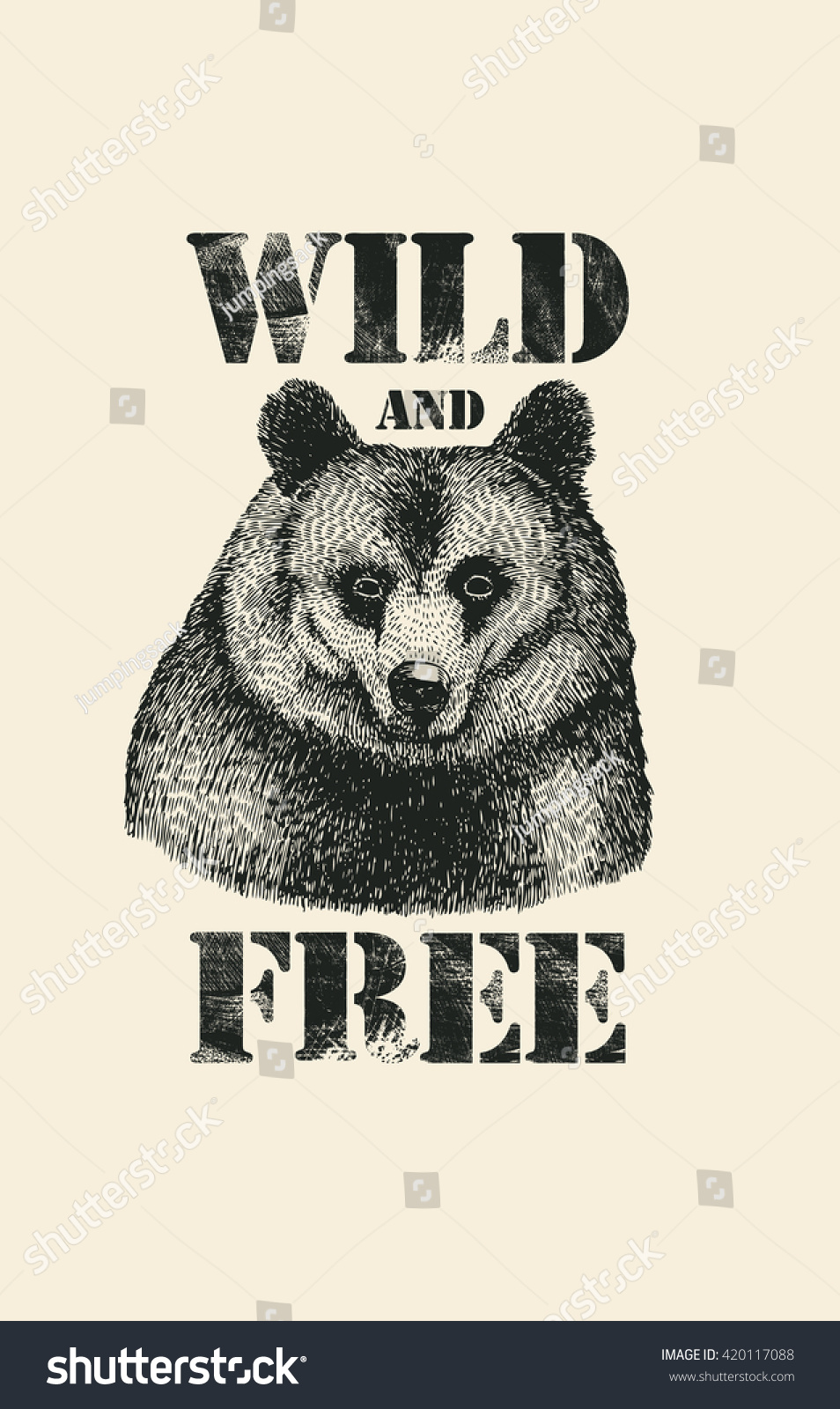 Free poster design and print - Retro Design Wild And Free For Poster Or T Shirt Print With Hand