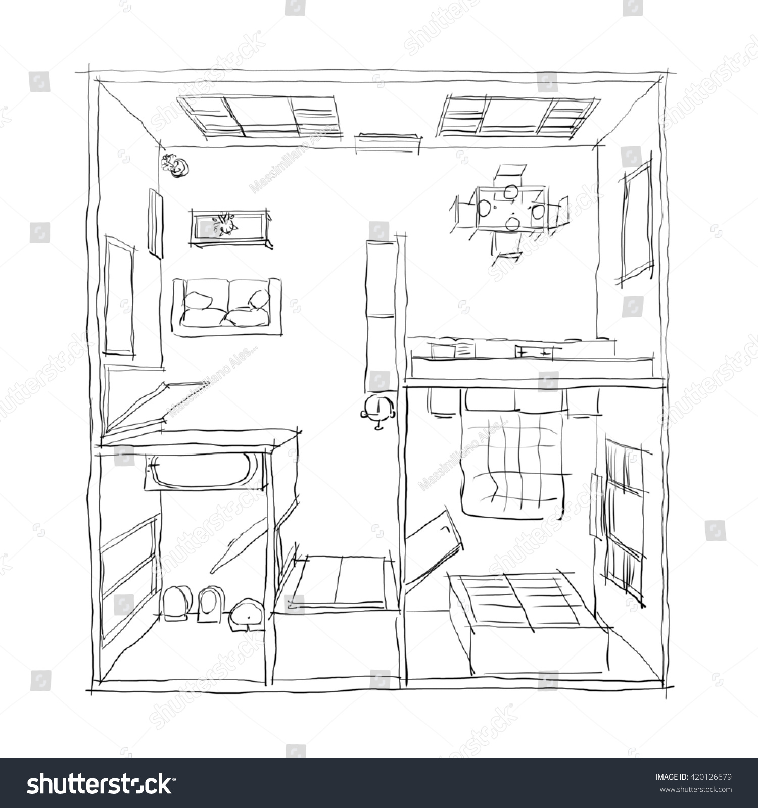 Kitchen Window Drawing: 3d Freehand Drawing Illustration Furnished Apartment Stock Illustration 420126679