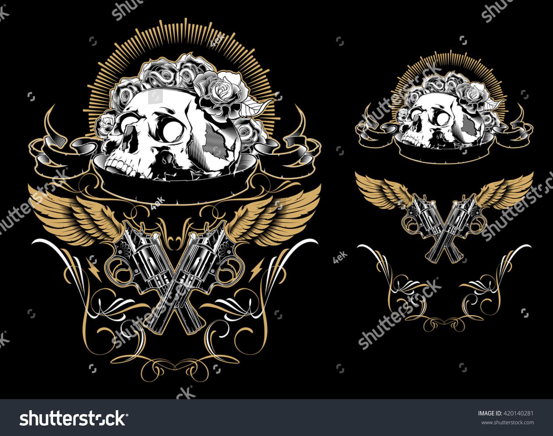 Skull Guns Roses Stock Vector 420140281 - Shutterstock