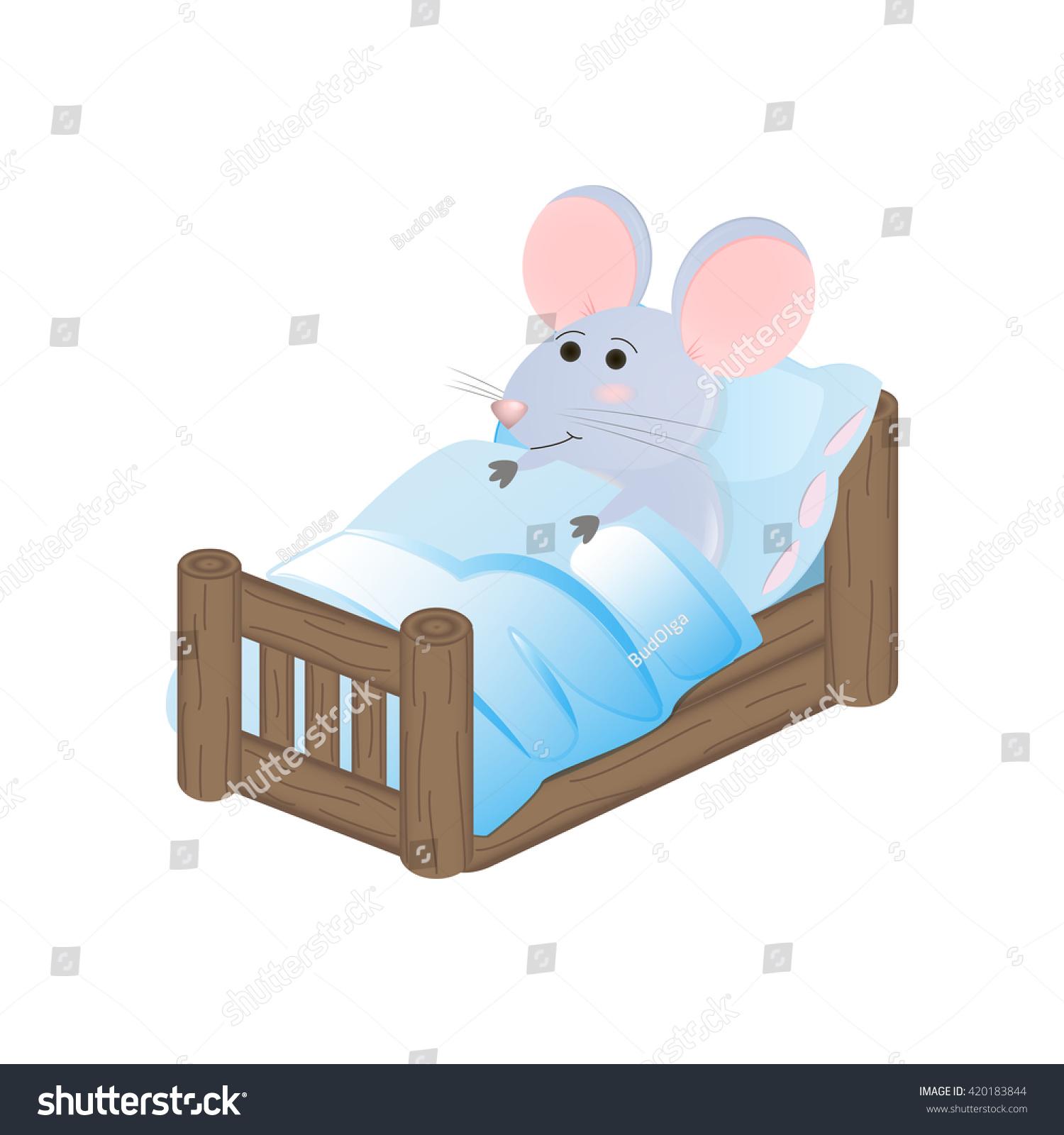 Cute Cartoon Mouse Bed Stock Vector 420183844 Shutterstock