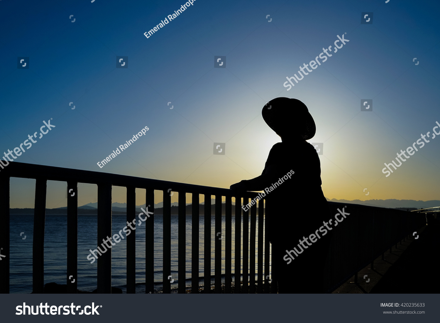 fe7c4cb9597 Female Wearing Sun Hat Standing By Railing Taking In The Sunset Silhouette