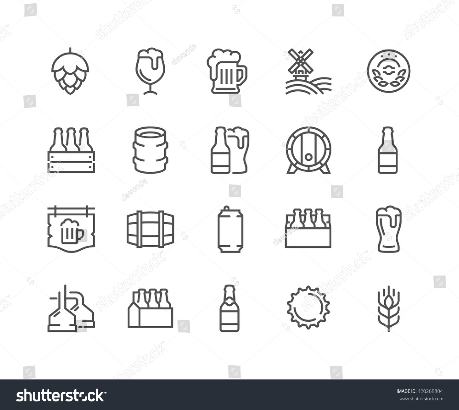 Simple Set Beer Related Vector Line Stock-Vektorgrafik (Lizenzfrei ...