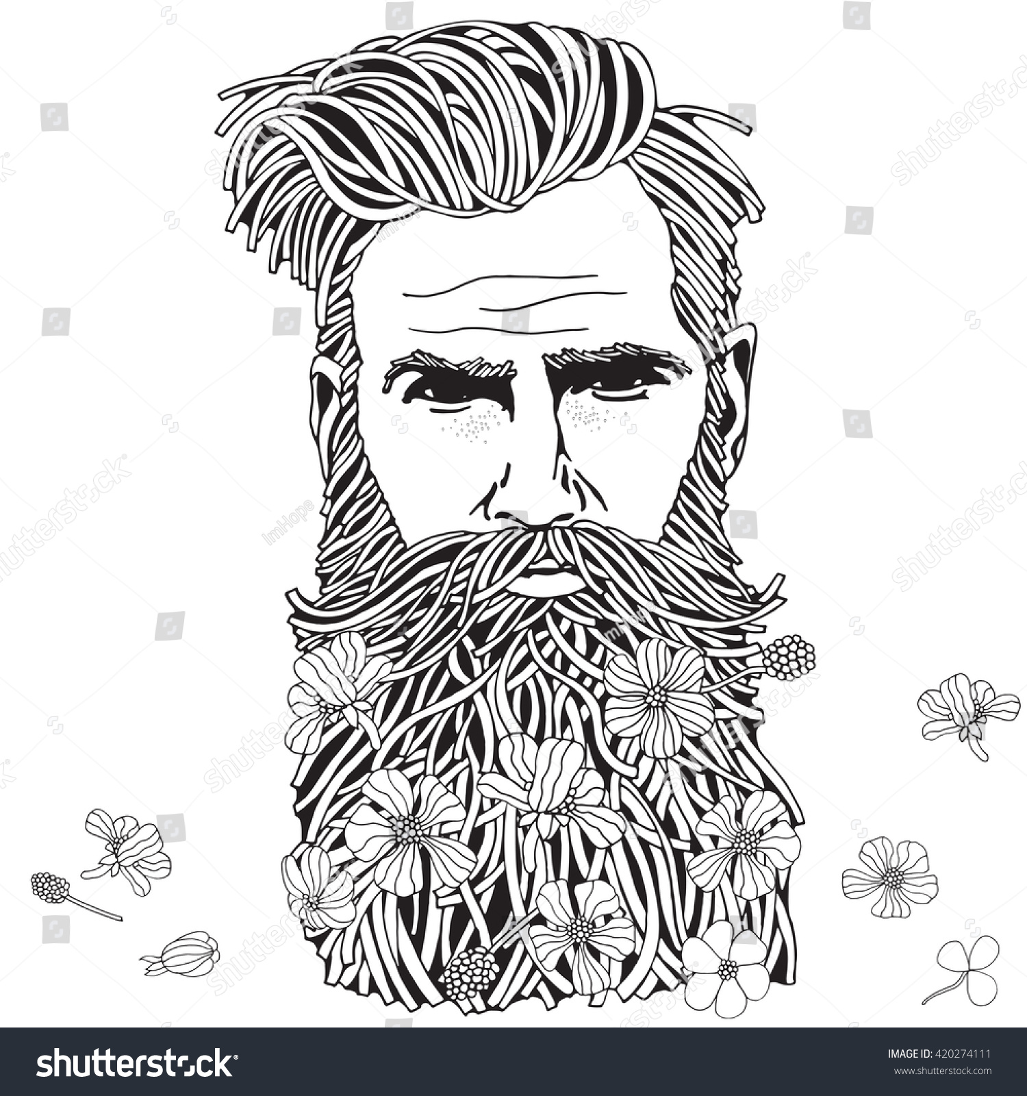 Bearded Hipster Man Coloring Book Page Stock Vector 420274111 ...