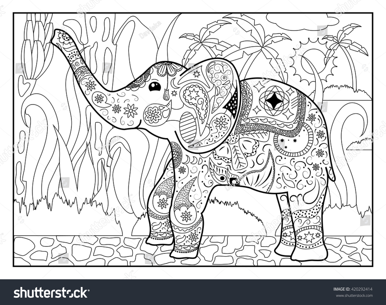 elephant jungle coloring page mandala style stock vector 420292414