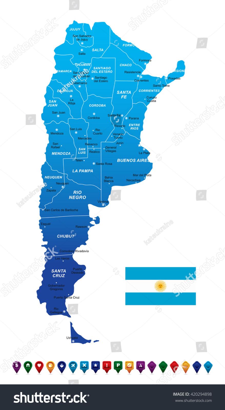 Argentina Map Vector Illustration Stock Vector - Argentina map bahia blanca