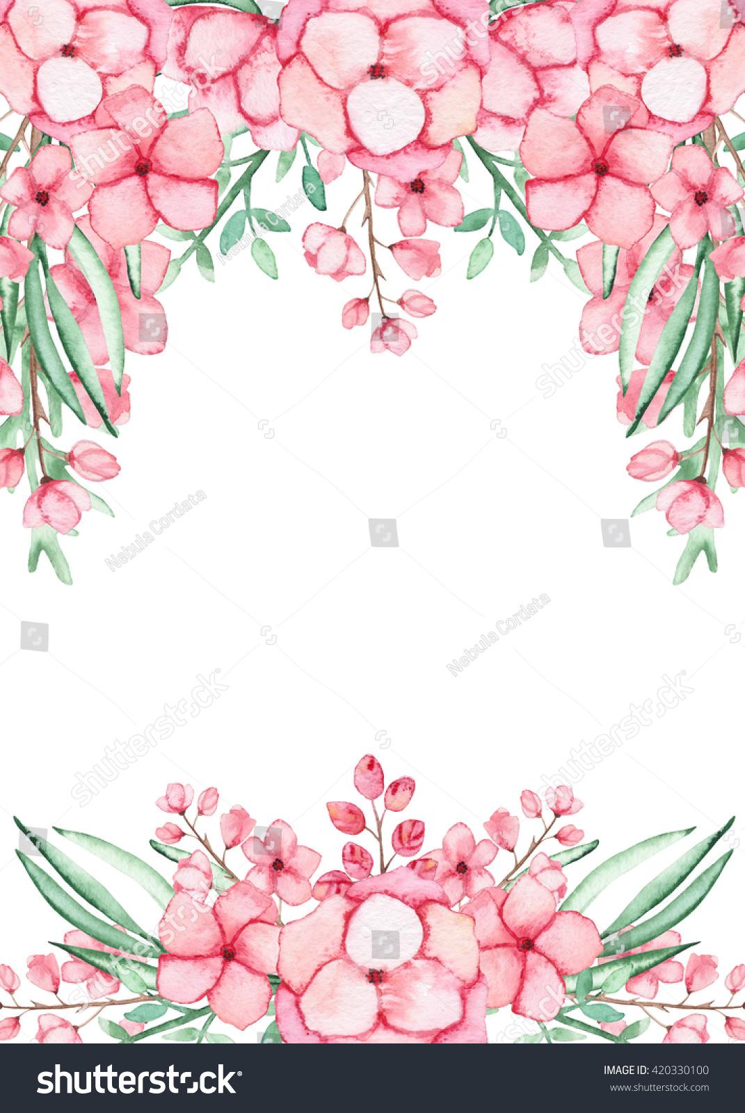 Frame Watercolor Light Pink Flowers Stock Illustration Royalty