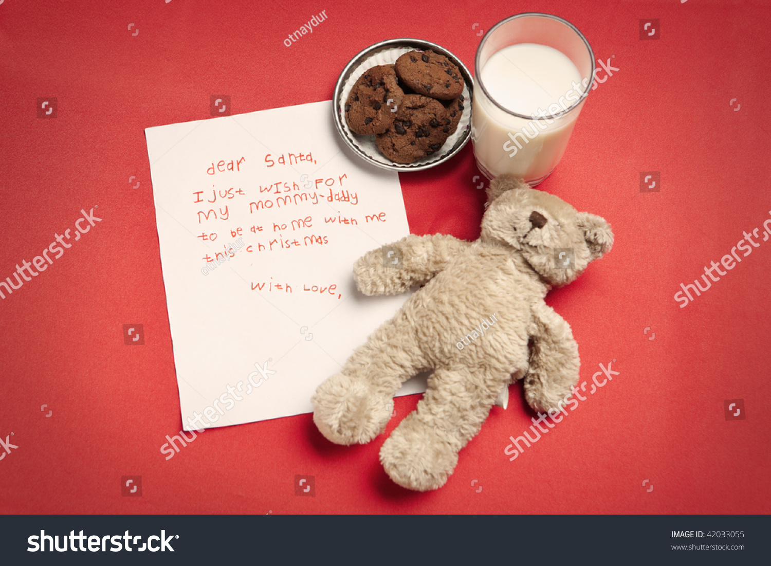 Christmas Wish Letter Lonely Child Teddy Stock Photo Download Now