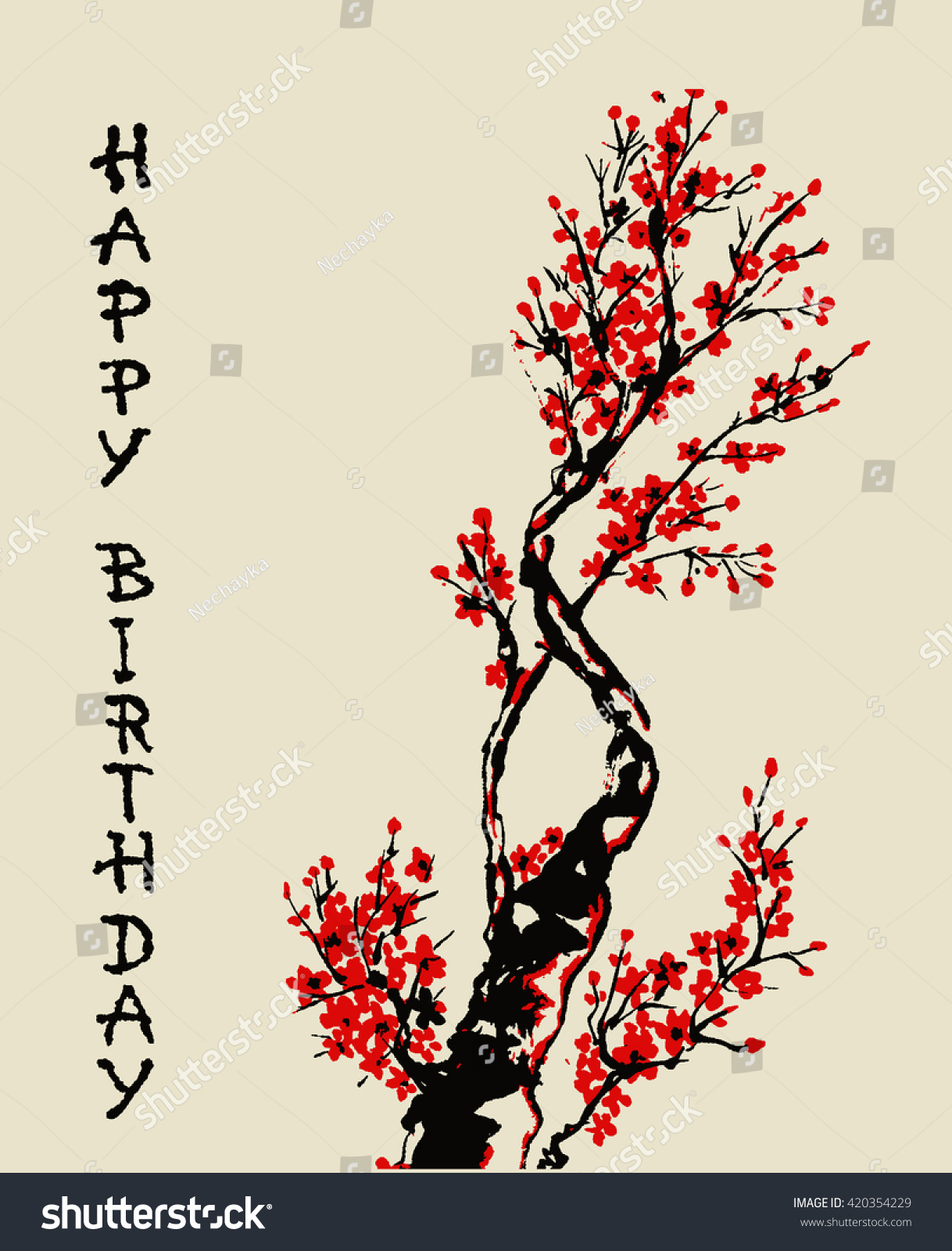 Happy Birthday Handwritten Lettering Handdrawn Branch Vector – Japanese Birthday Cards