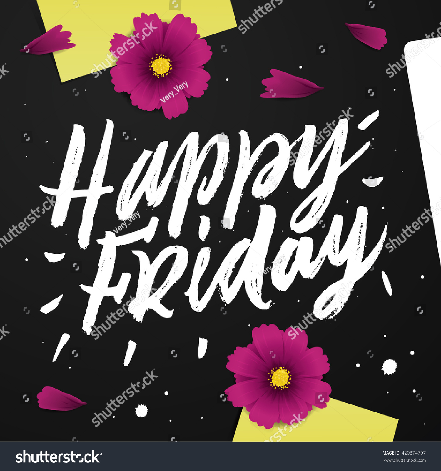 Happy Friday Black Desk Positive Quote Stock Vector Royalty Free