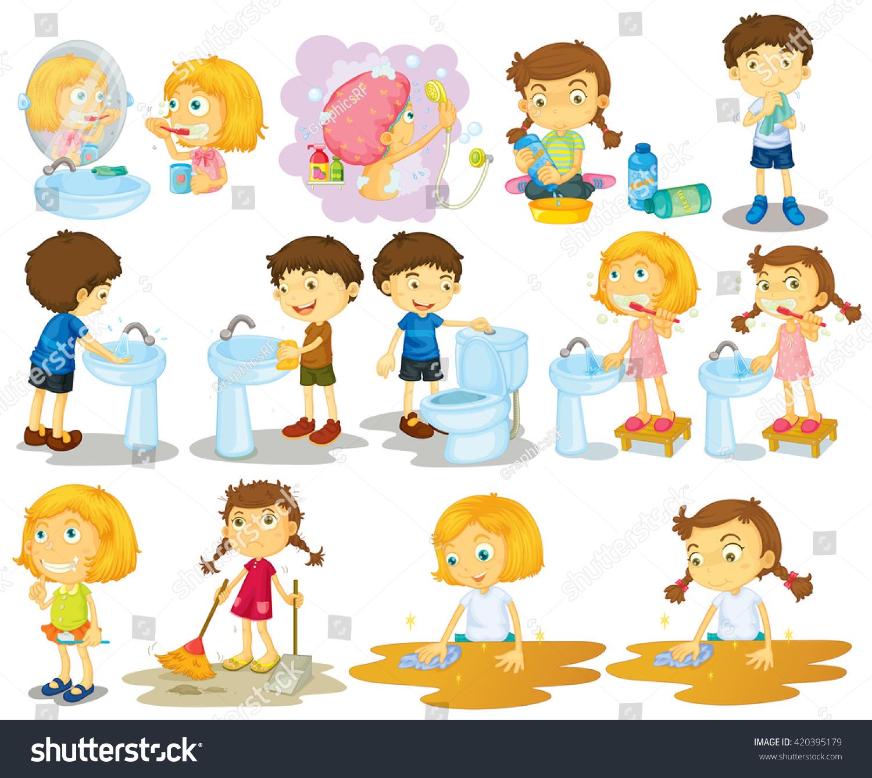 Girls Boys Doing Chores Illustration Stock Vector ...