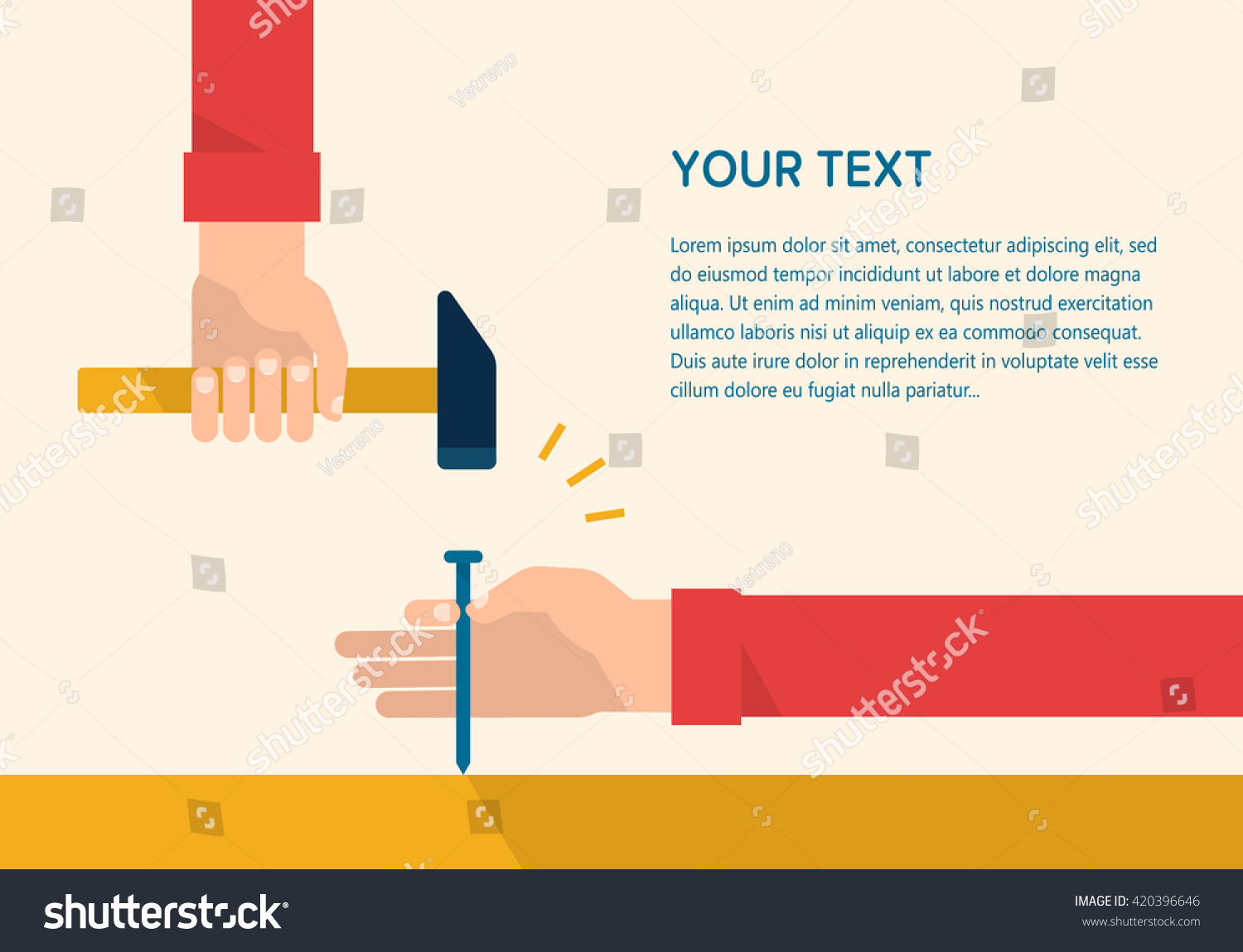 mens hands hold hammer steel nail stock vector 420396646
