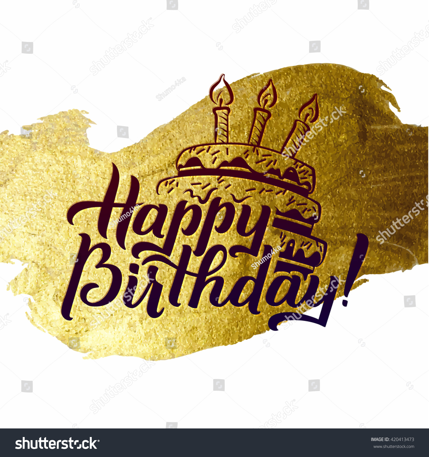 Happy Birthday Greeting Card Gold Calligraphic Stock Vector ...