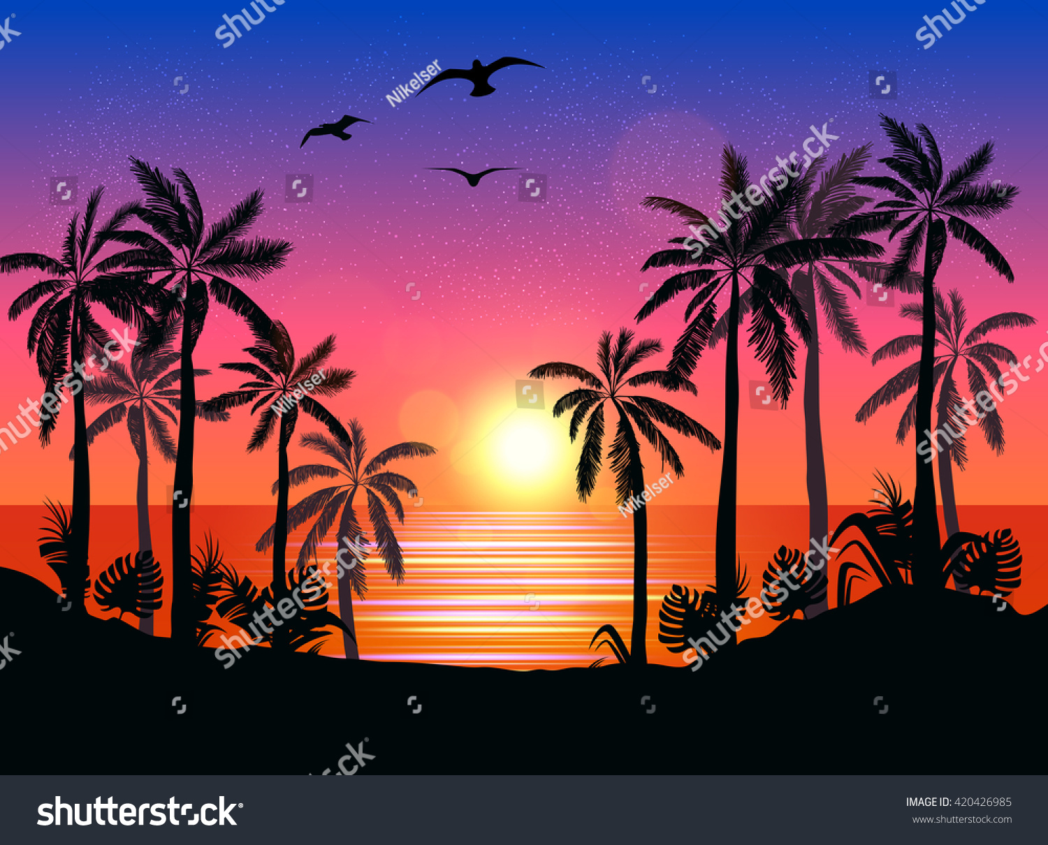 Summer Beach Night Palm Silhouettes On Stock Vector ...