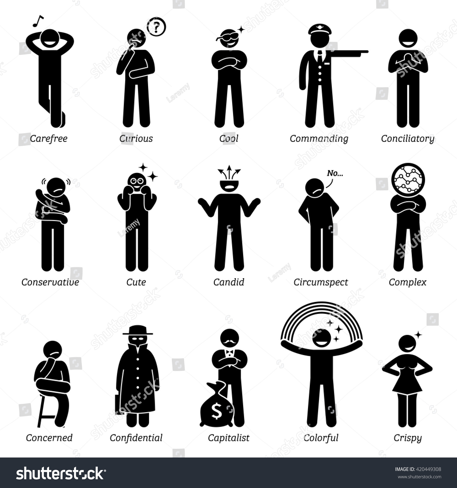 Neutral Personalities Character Traits Stick Figures Stock Vector