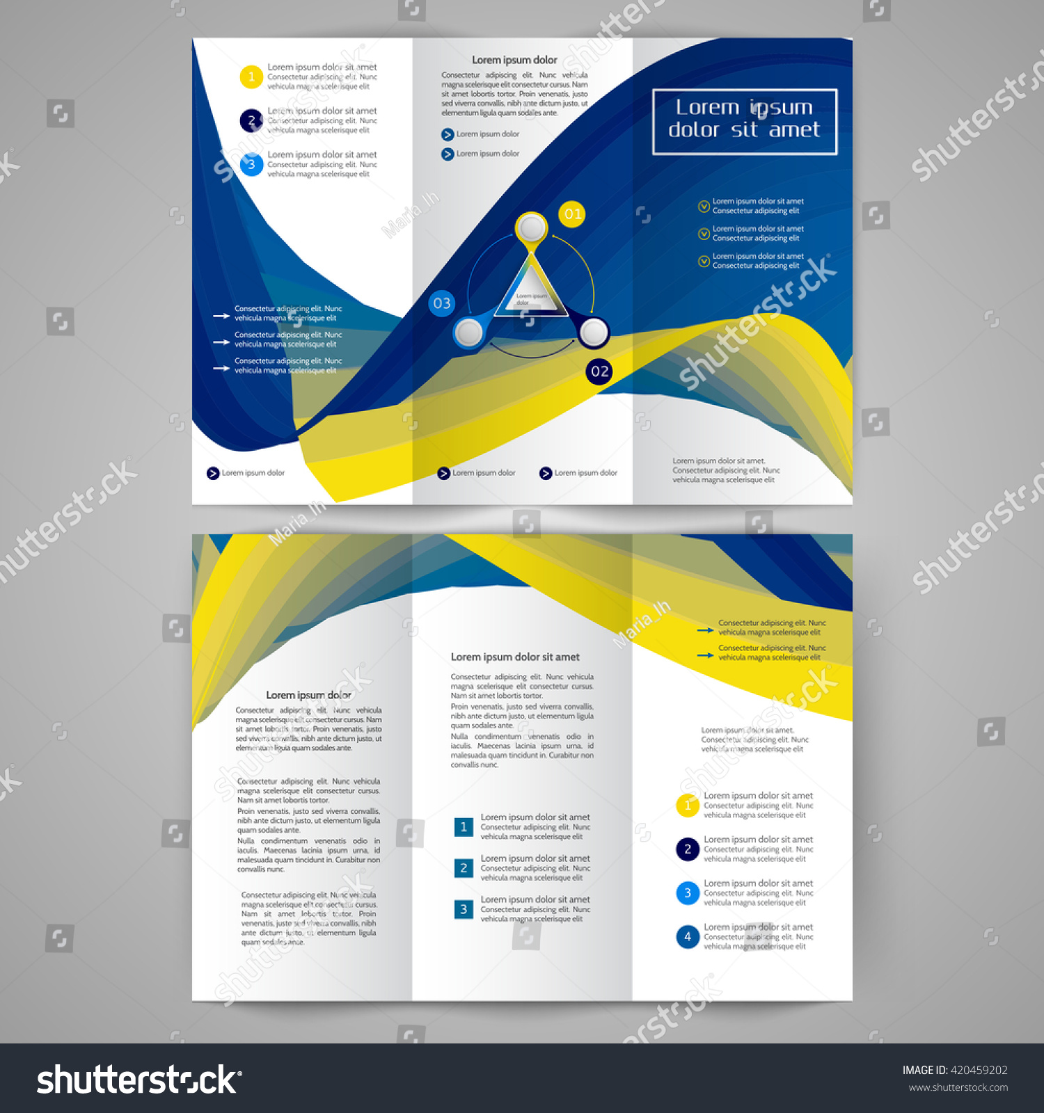 Colored Tri Fold Business Brochure Design Stock Vector Royalty Free