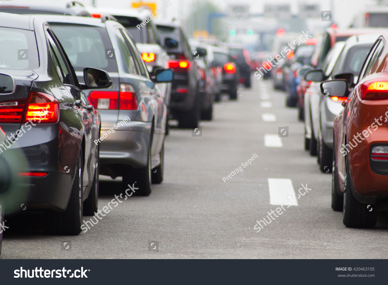 Cars on highway in traffic jam #420463105