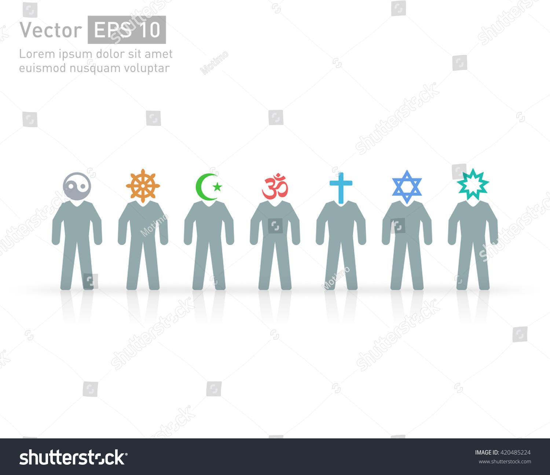 People Different Religions Islam Muslim Judaism Stock Vector