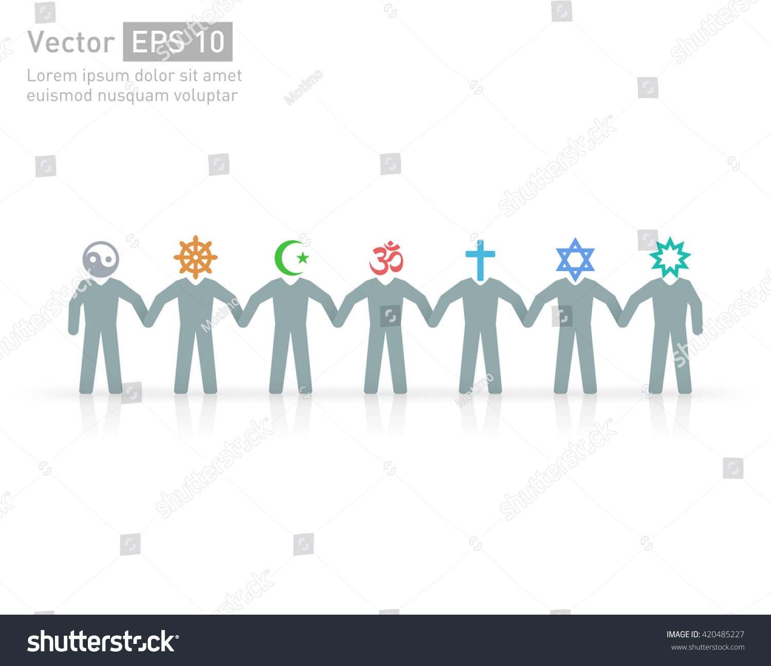 People Different Religions Islam Muslim Judaism Stock Vector