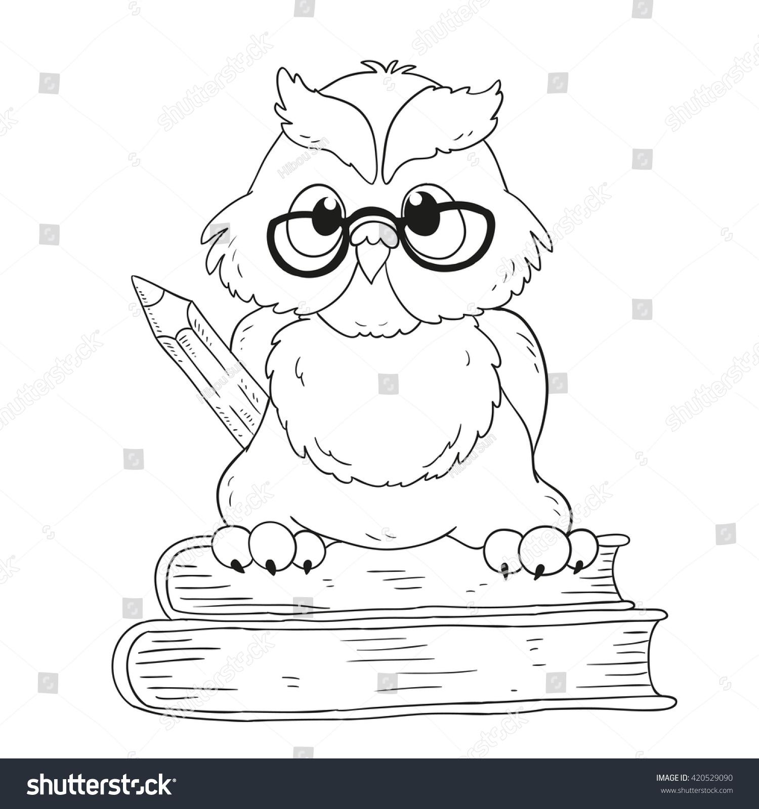 cartoon character graduation owl glasses coloring stock vector