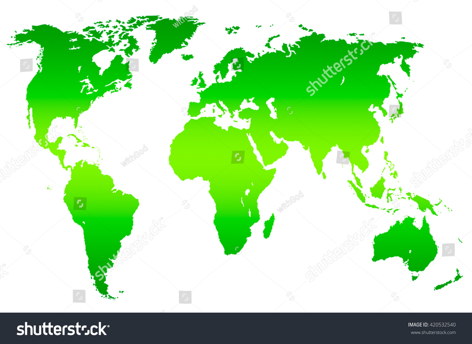 Green Gradient Worlds Map Isolated Over Stock Illustration - Worlds map
