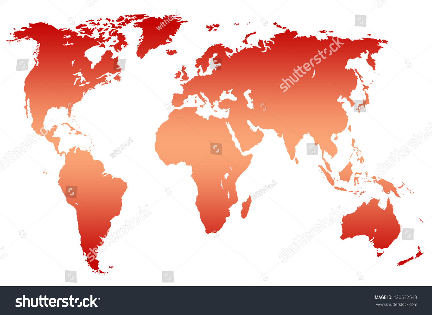 Red Gradient Worlds Map Isolated Over Stock Illustration - Worlds map