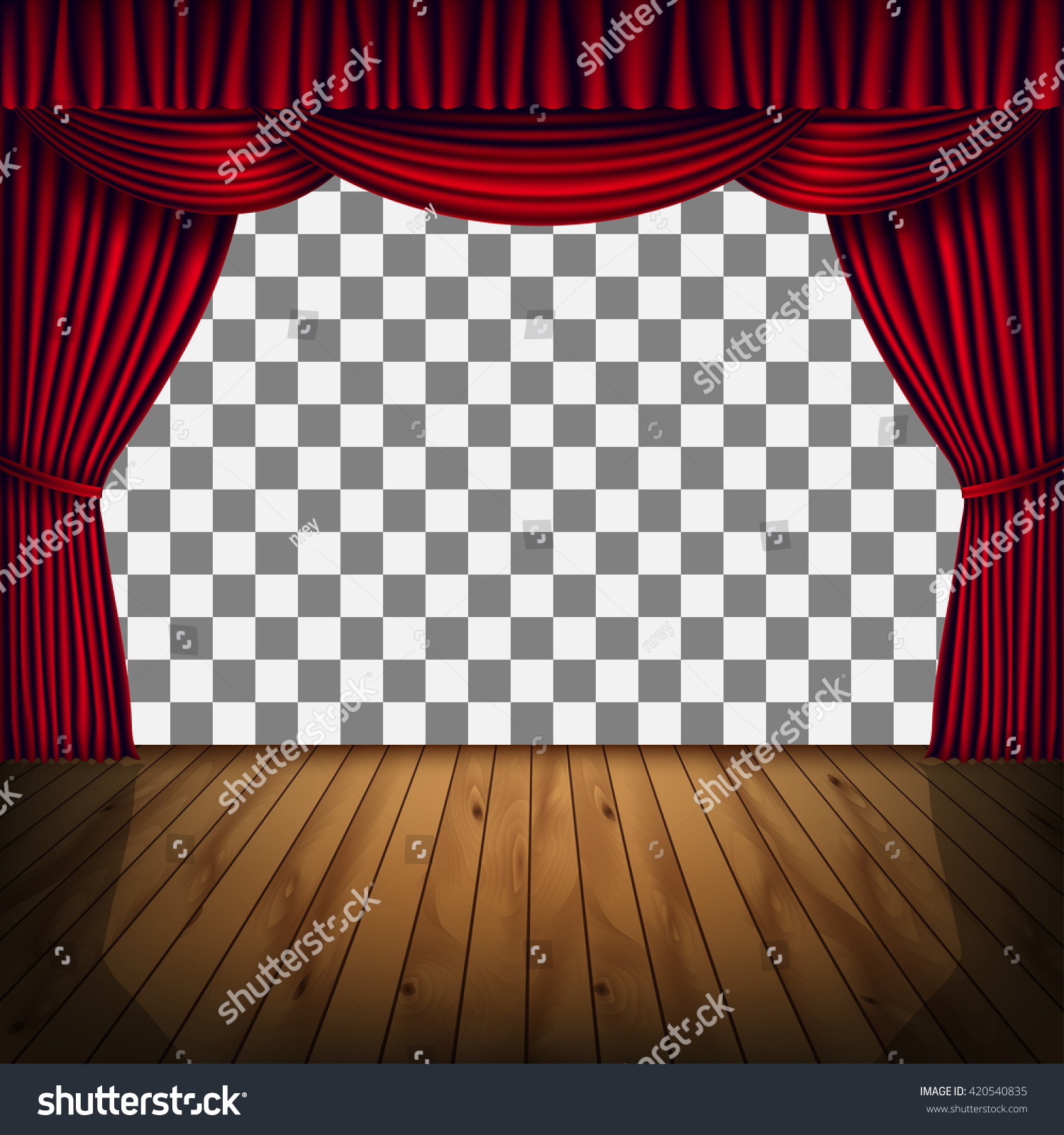 Transparent frame of stage with red curtain background with red curtain and a wooden floor