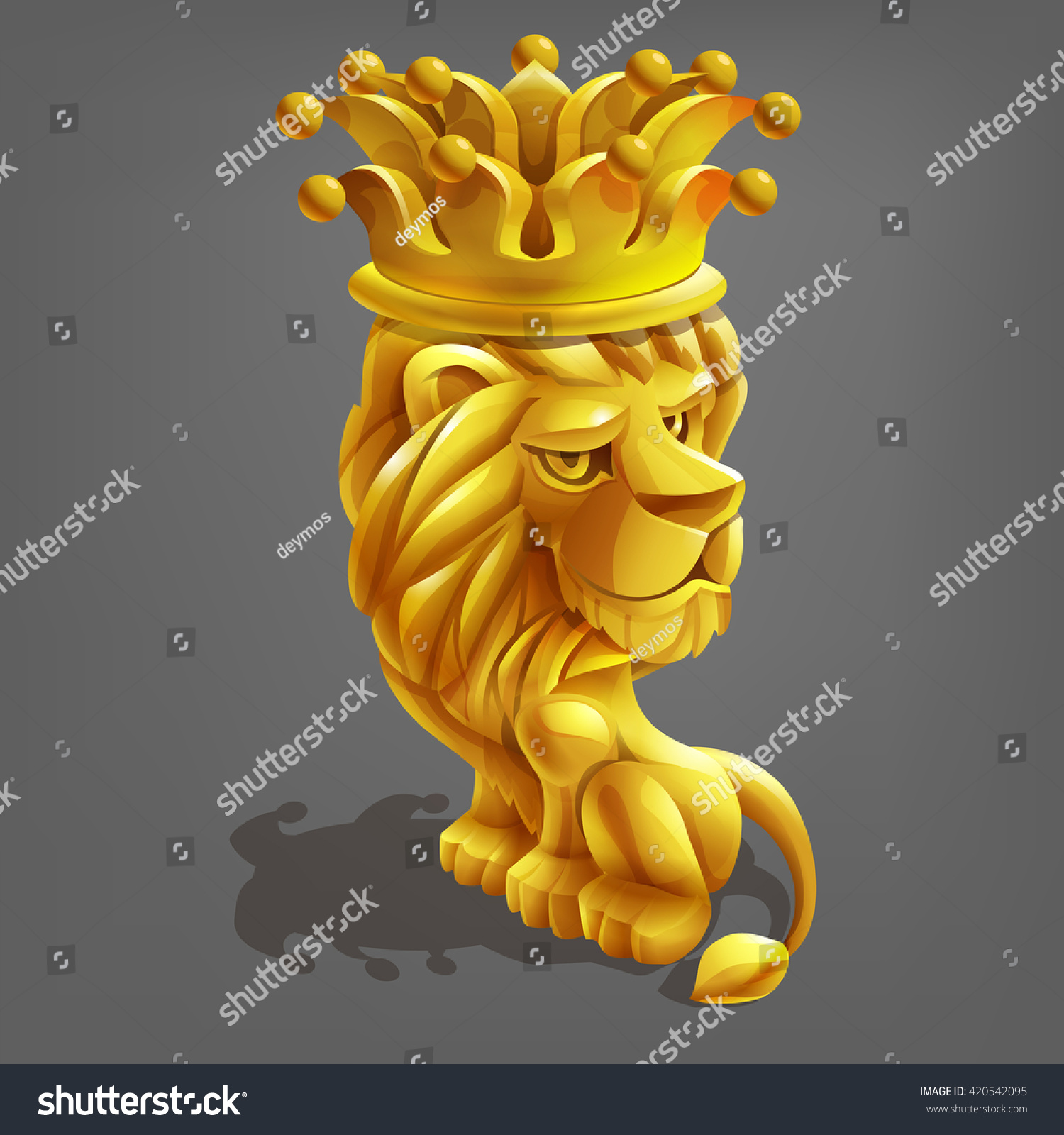 Reward Cartoon Golden Lion Crown Vector Stock Vector Royalty Free 420542095 Cartoon lion wearing a crown royalty free vector image. shutterstock