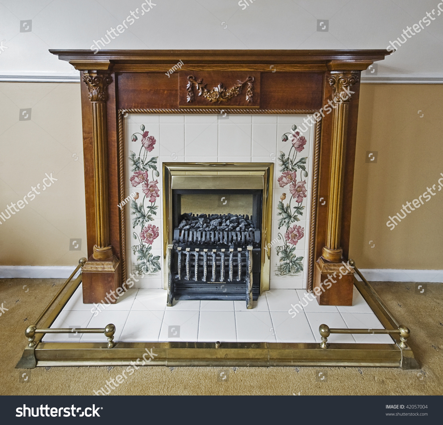 Fireplace Carved Wooden Frame Painted Flower Stock Photo 42057004 Shutterstock