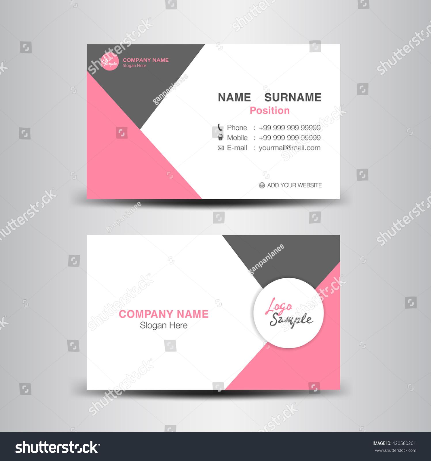 creative clean business card templateflyer designpink stock vector creative and clean business card template flyer design pink polygon background card