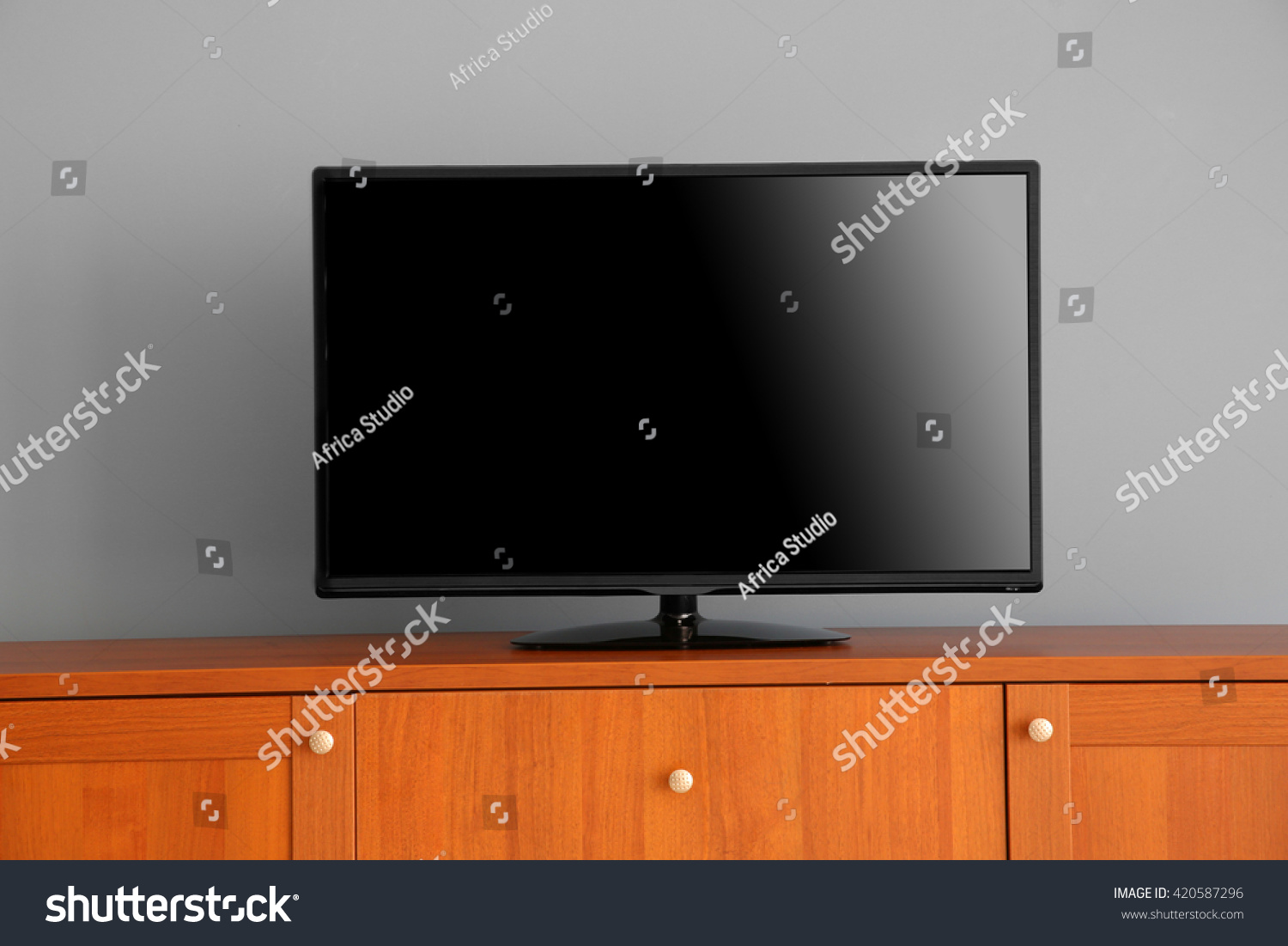 Wide Screen Tv On Wooden Commode Stock Photo 420587296 Shutterstock # Commode Tv But