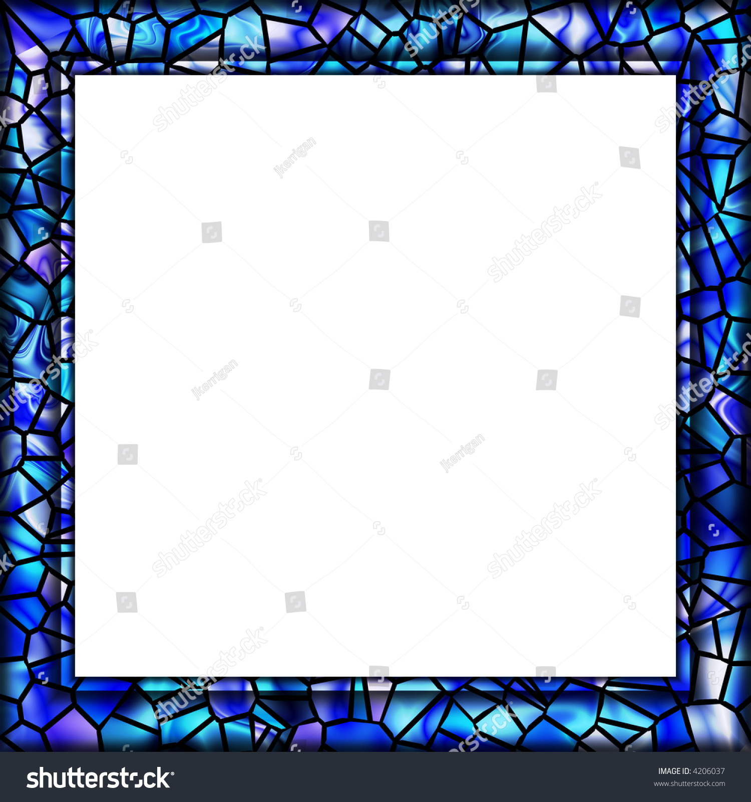 Watery Blue Mosaic Tile Picture Frame Stock Photo 4206037