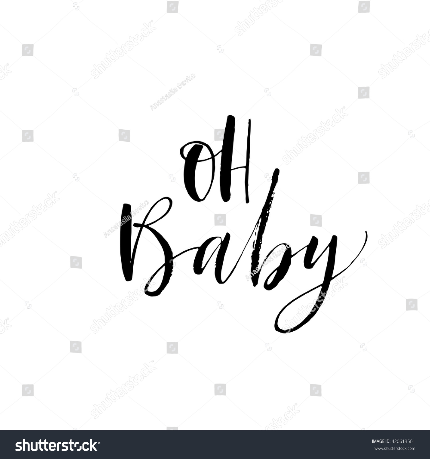 Oh baby card hand drawn lettering stock vector