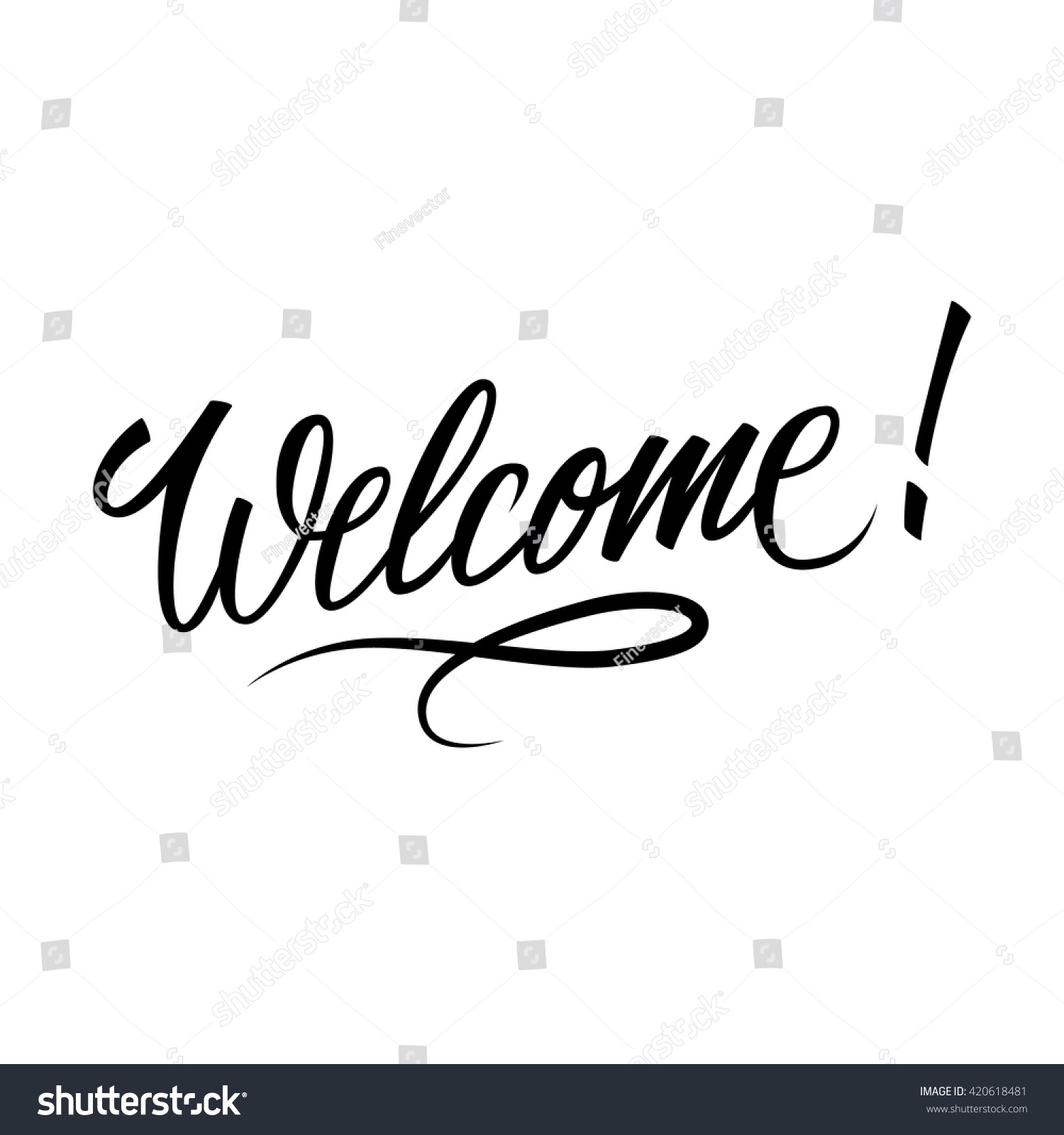 Welcome inscription hand drawn lettering greeting stock