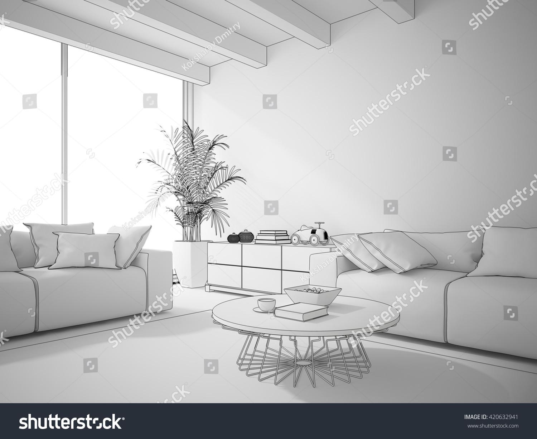 Interior Living Room Draw 3d Rendering Stock Illustration