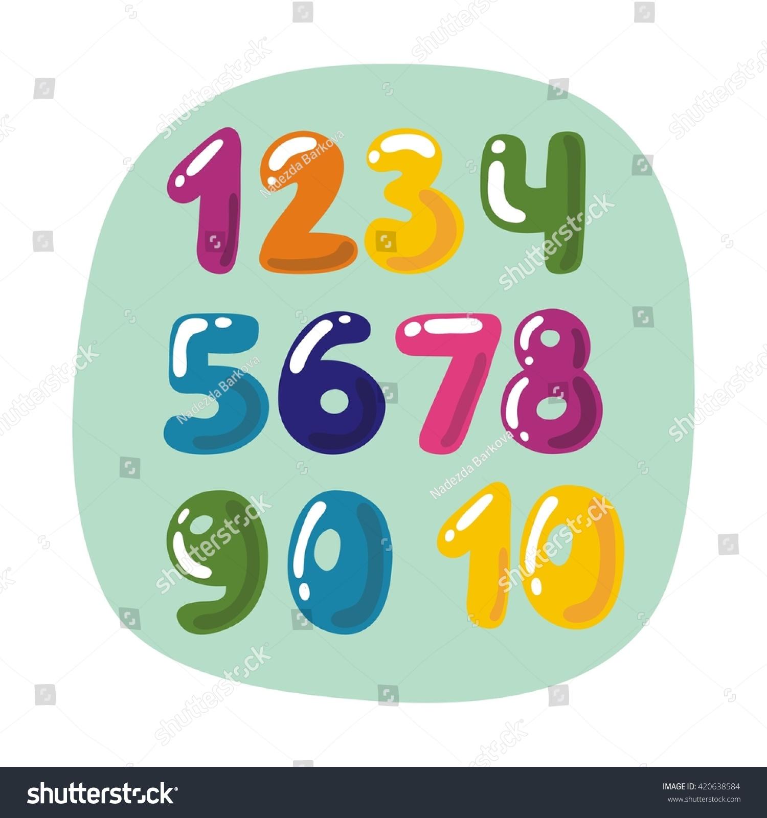 Colorful Children Numbers Stock Vector (2018) 420638584 - Shutterstock