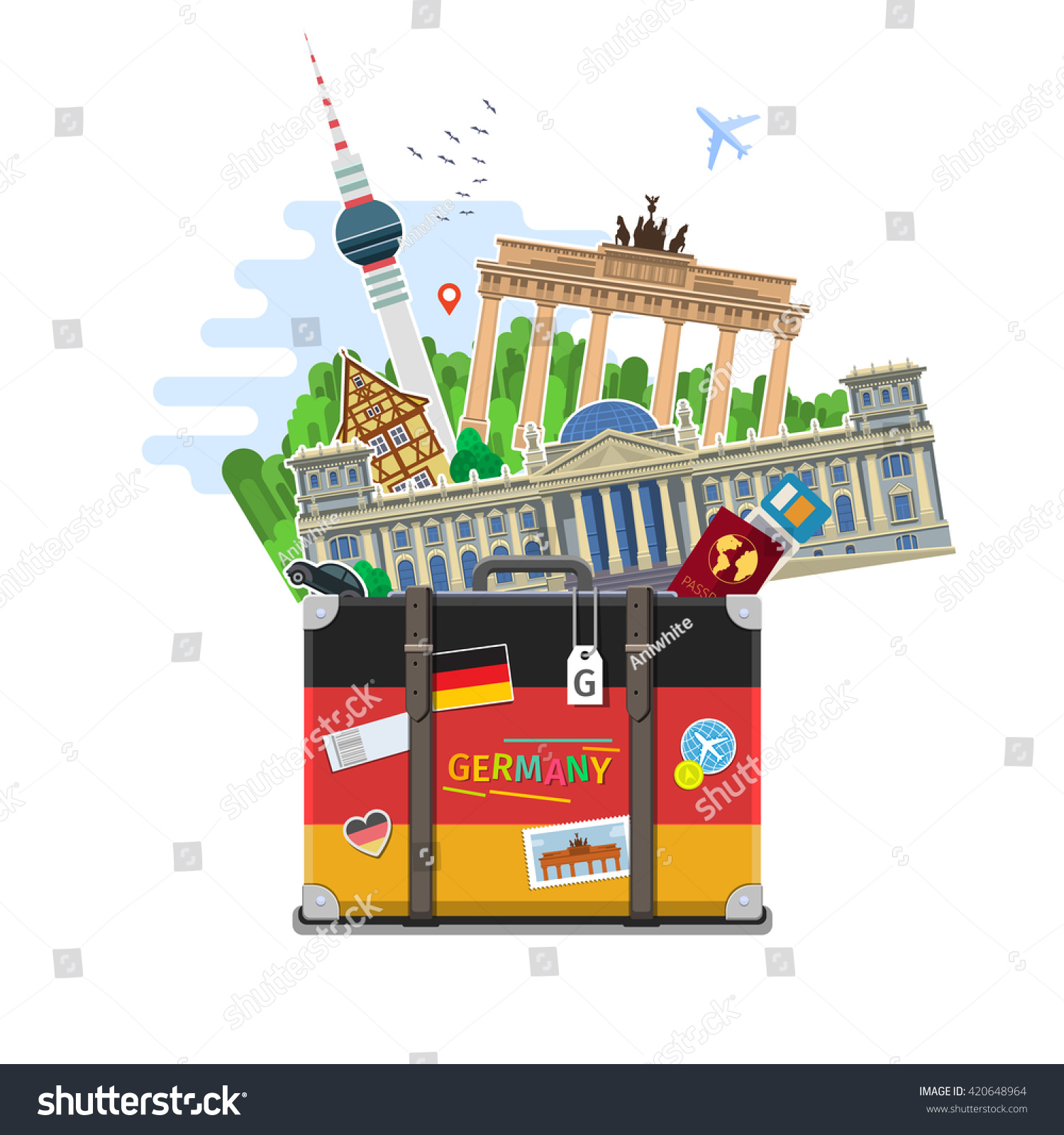 Concept Travel Germany Studying German German Stock Vector ...