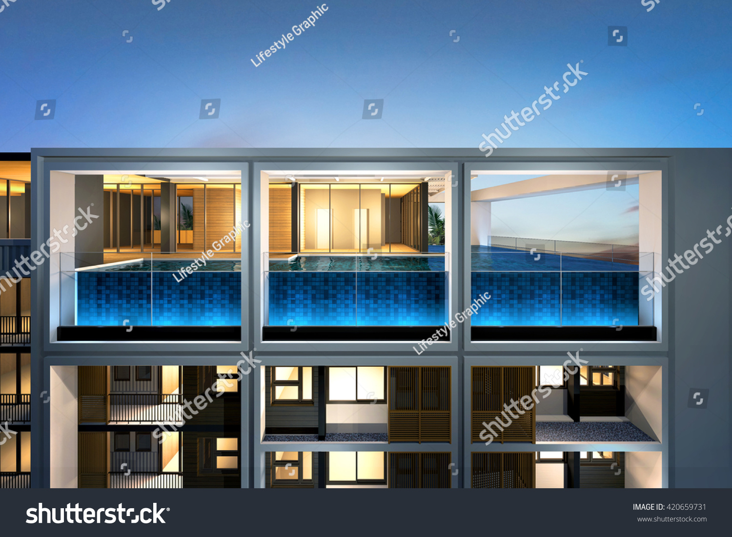 3 D Night Perspective Swimming Pool On Stock Illustration 420659731 Schematic 3d Of Top Building Image Architectural Construction