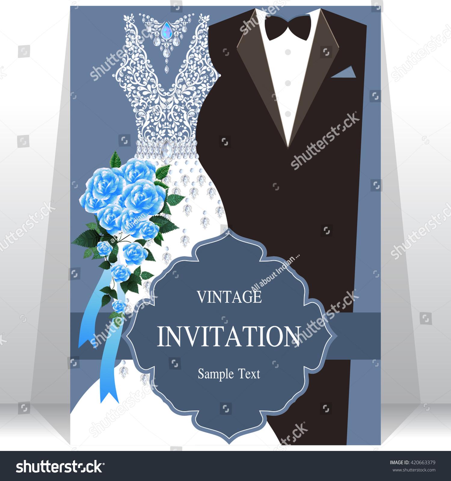 Royalty-free Wedding invitation card, bride and… #420663379 Stock ...