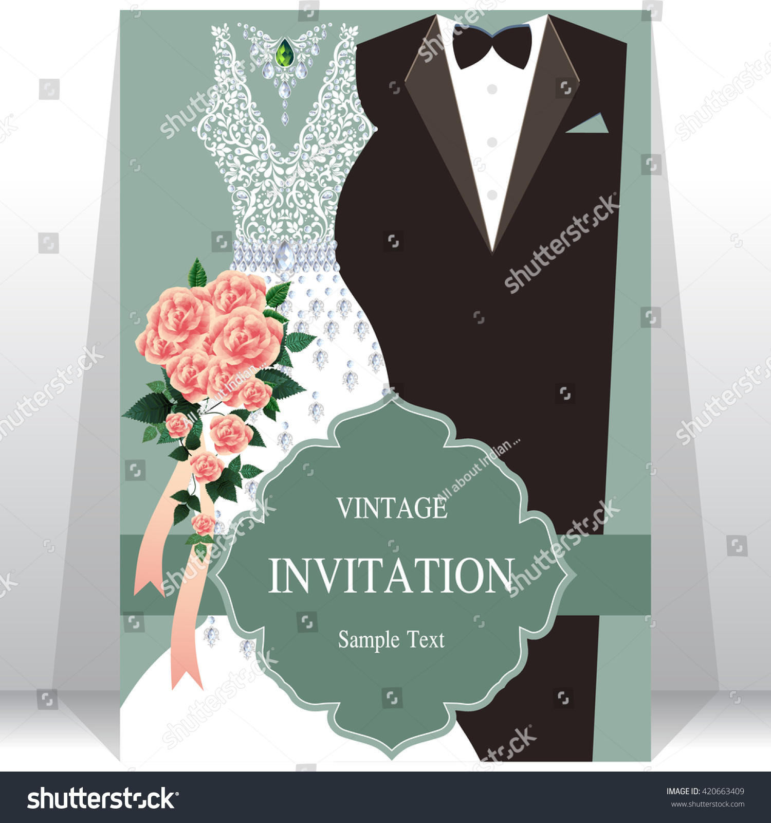 Wedding Invitation Card Bride Groom Dress Stock Vector HD (Royalty ...