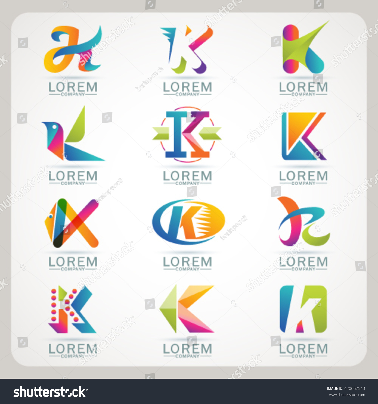 Logo Letter K Element Abstract Web Stock Vector Royalty Free