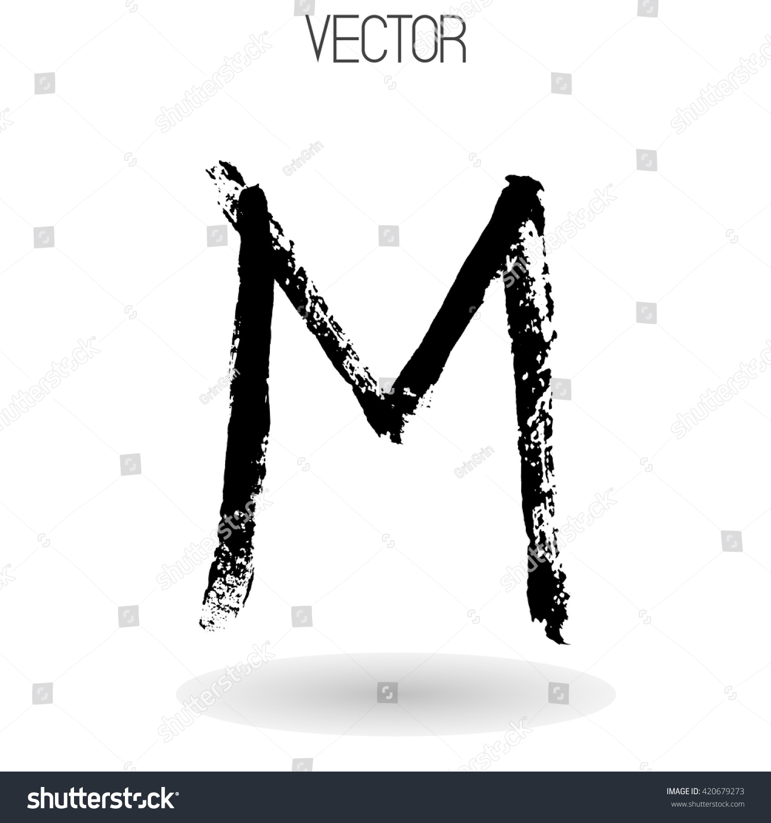 Royalty Free Vector Hand Paint Letter M Isolated On 420679273