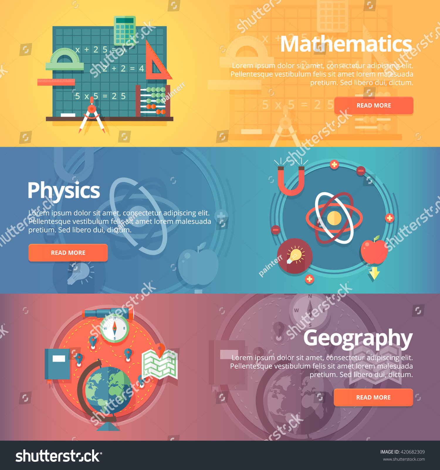 Elementary mathematics basic math physics subject vector de elementary mathematics basic math physics subject geography science school subjects education malvernweather Gallery