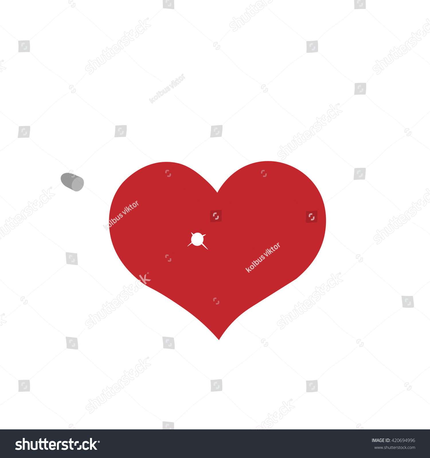 red heart icon emblem isolated on white background flat style for