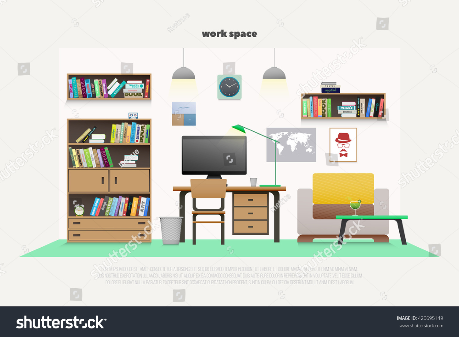 Interior wooden shelves free vector - Contemporary Work Place With Wooden Furniture And Professional Tools Vector Flat Style Office Interior